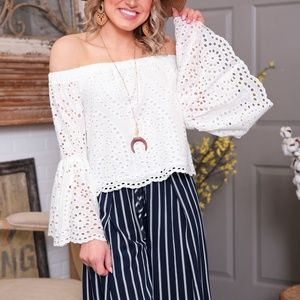 White Eyelet Off the Shoulder Bell Sleeve Tunic